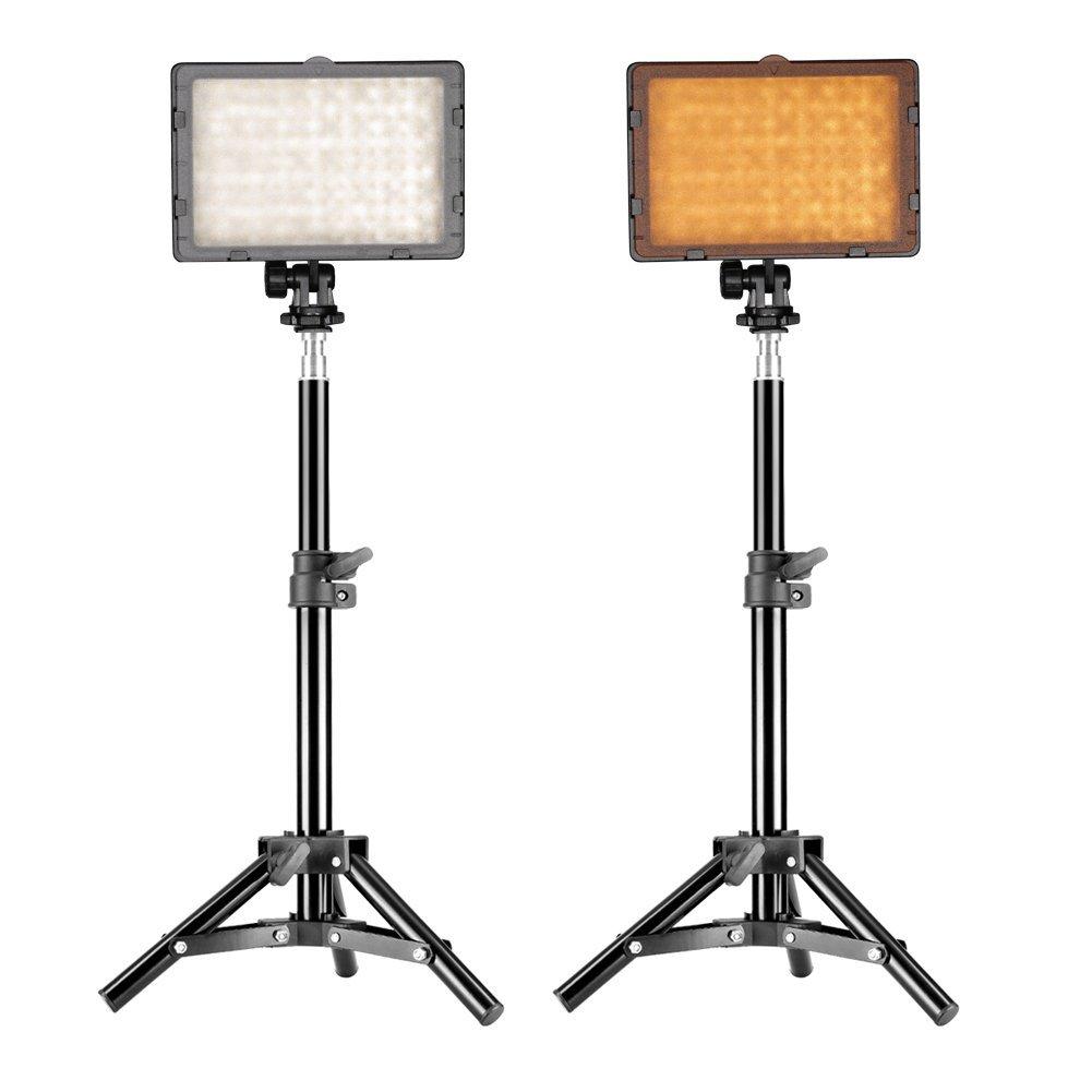 Neewer Fotografía Kit de Iluminación de Estudio 160 LED, Incluye (2) CN-160 LED Luz de Video Regulable Cámara Digital DSLR Videocámara con Panel de Potencia Ultra Alta (2) Soporte de Estudio 80cm
