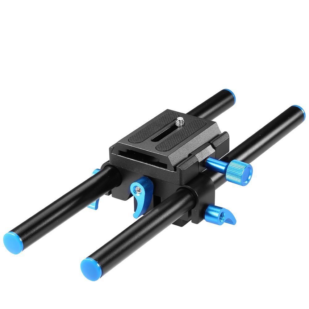 "Neewer - Sistema de Soporte Universal de Rail Rod 15mm, Aluminio, High Riser, Cámara DSLR, Placa Base de montaje 25cm con Tornillo 1/4"" Placa de zapata rápida para seguir el enfoque, Matte"