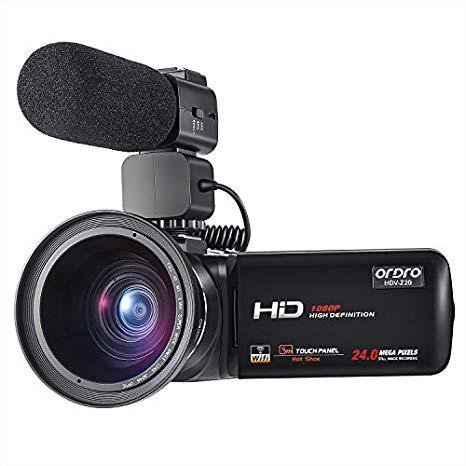 ORDRO Videocámara WiFi Profesional Full HD 1080P 30FPS Cámara de Video Digital con micrófono Externo y Lente Gran Angular Control Remoto de Pantalla táctil DE 3.0 Pulgadas