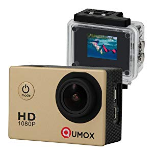 QUMOX SJ4000 - Cámara de Deporte para casco Impermeable, Video de Alta definición 1080p 720p, Color Oro