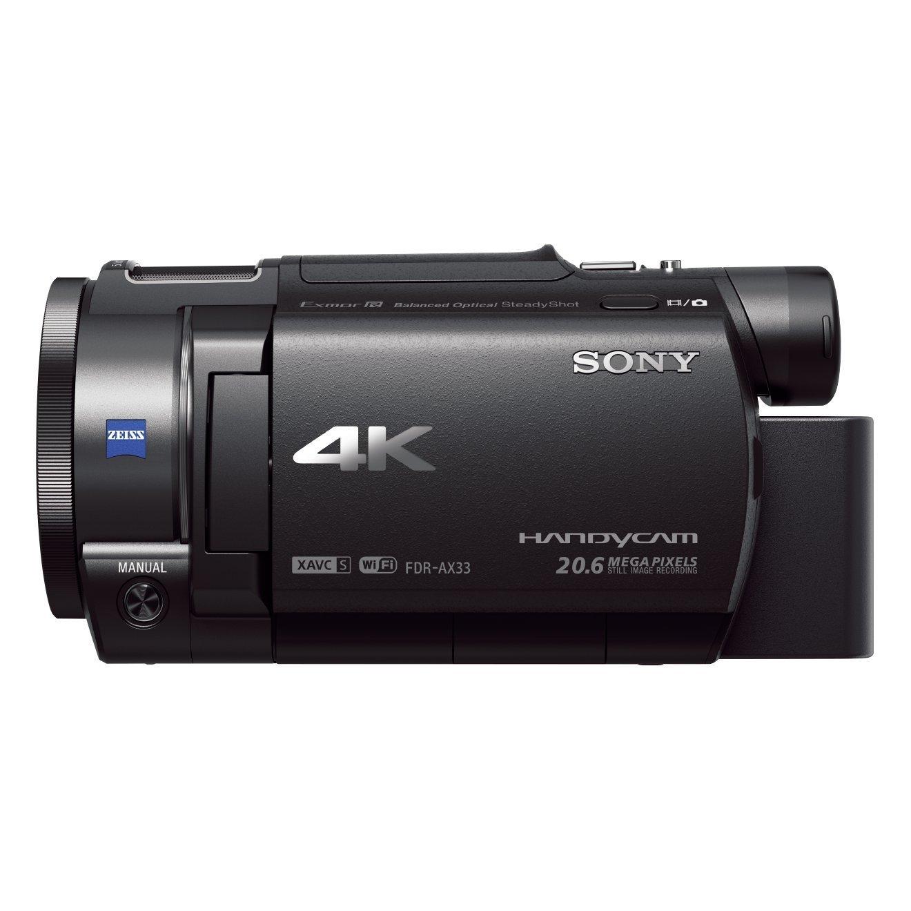 """Sony Handycam FDR-AX33 4KUHD - Videocámara (Pantalla de 3"""", Zoom óptico 10x, estabilizador óptico), Negro"""