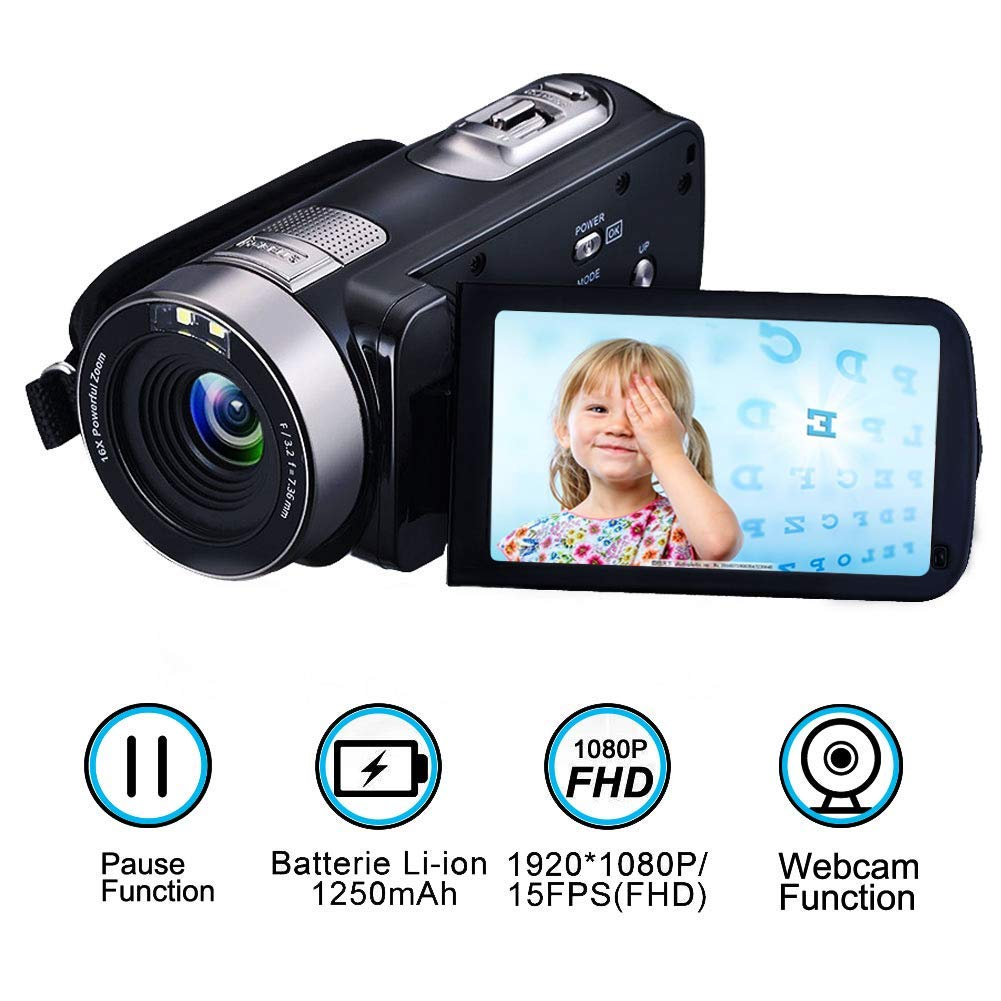 Videocámara Cámara de Video de la Full HD 1080p 24.0MP Cámara Digital DE 3.0 Pulgadas Pantalla giratoria de 270 Grados Función de Pausa de Video Grabador con Control Remoto