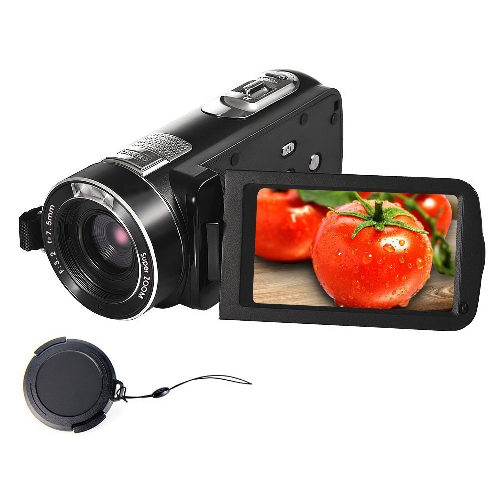 Videocámara Full HD Camara de Video 18X Zoom Digital Videocámara de visión Nocturna con Pantalla LCD y Pantalla de rotación de 270 Grados con Control Remoto