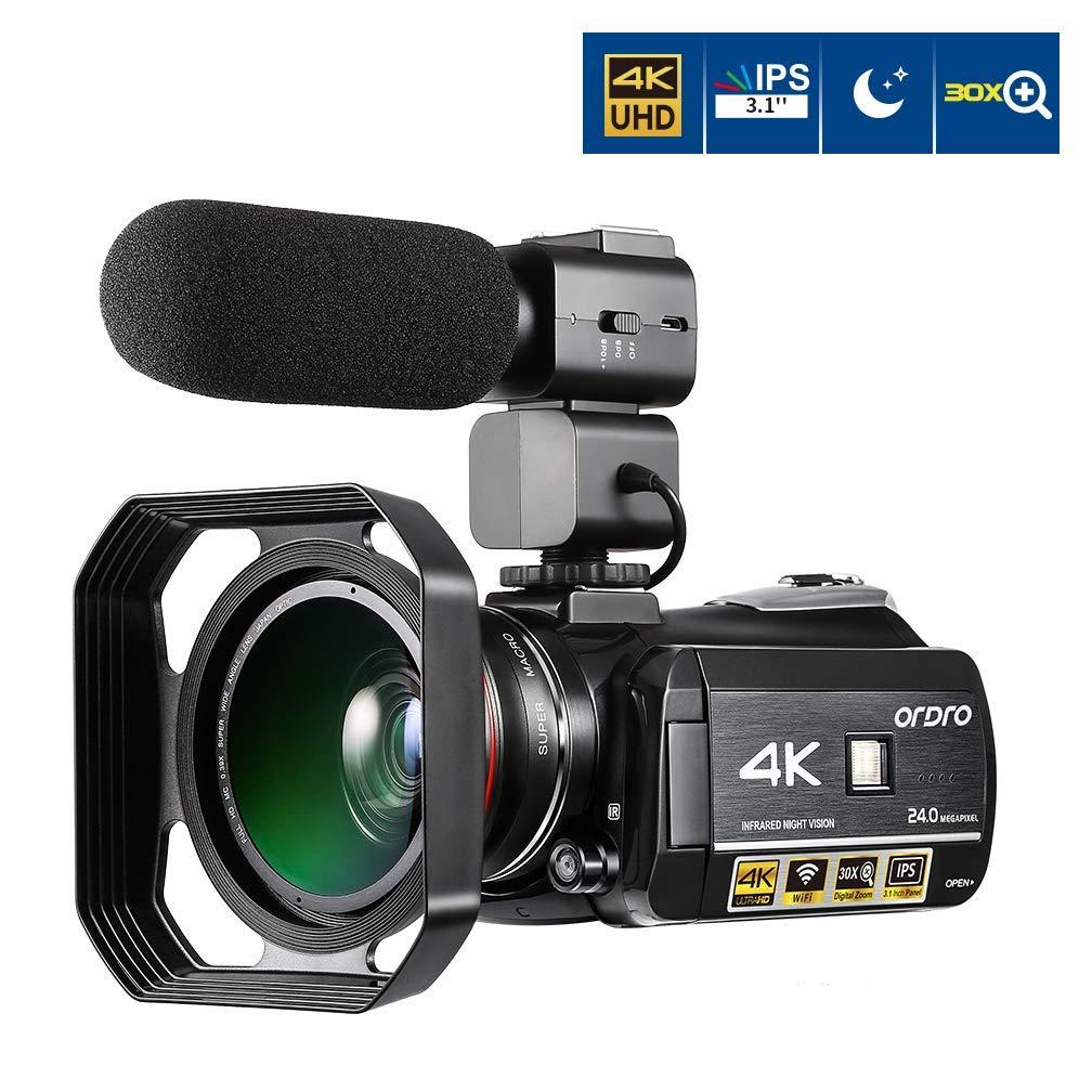 4K Videocámara ORDRO UHD IR Visión Nocturna WiFi Pantalla Táctil IPS de 3,1inch H.264 30X Zoom Digital Cámara Digital con Lente Gran Angular Micrófono Las Capuchas de Lente (AC3)