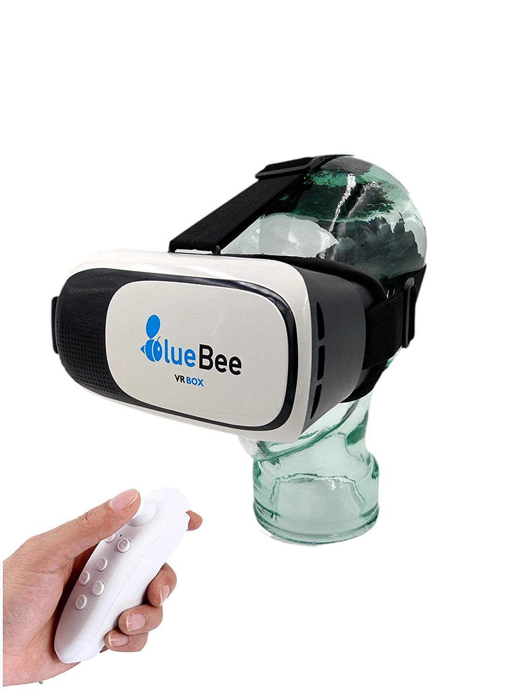 BlueBee Gafas VR + Mando a distancia (Realidad Virtual Genuine 3D Google Gafas / casco / auricular / Gafas para iPhone / Samsung / smartphones incluyendo Bluetooth 3.0 Juegos Remote Controller)