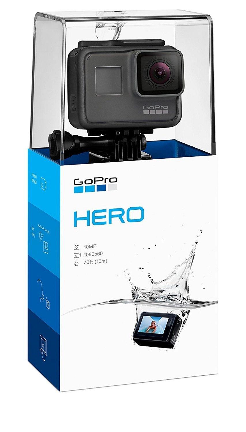 """GoPro Hero (2018) - Videocámara de acción (10 MP, vídeo 1080p, resistente y sumergible hasta 10m sin carcasa, pantalla táctil de 2"""", control por voz, Wi-Fi/Bluetooth), color negro"""