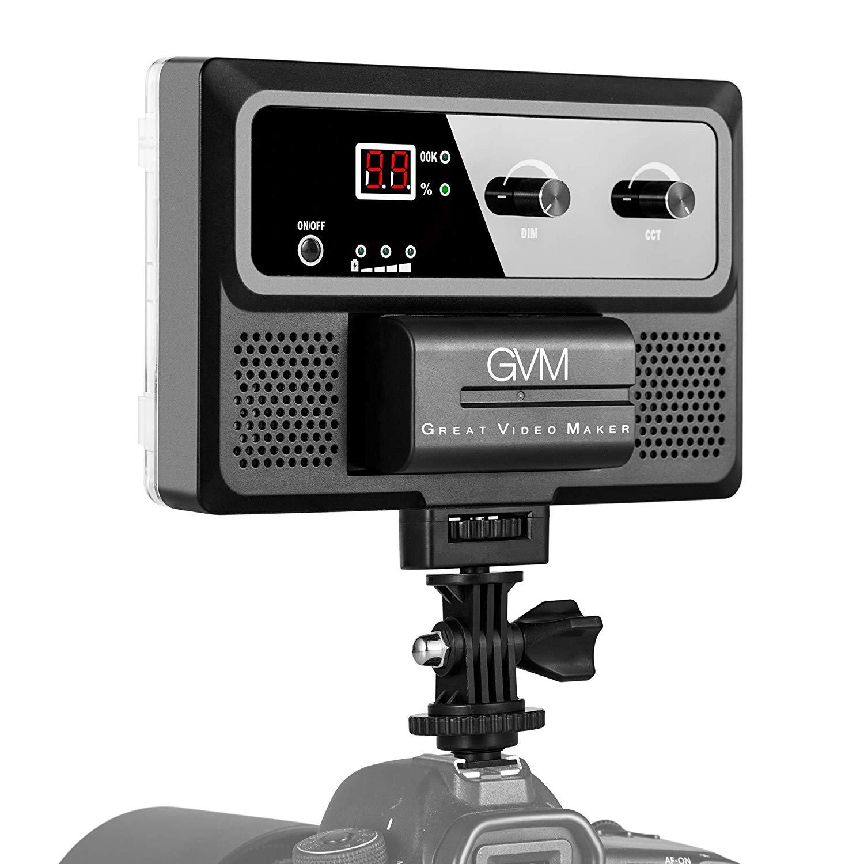 GVM TLCI / CRI 95+ Bolsillo de filmación de video en la luz de la cámara, temperatura bicolor regulable 3200K-5600K 240 Teléfono de estudio LED Luz de fotografía de exterior (adaptador de corriente DC y batería de montaje incluidos)
