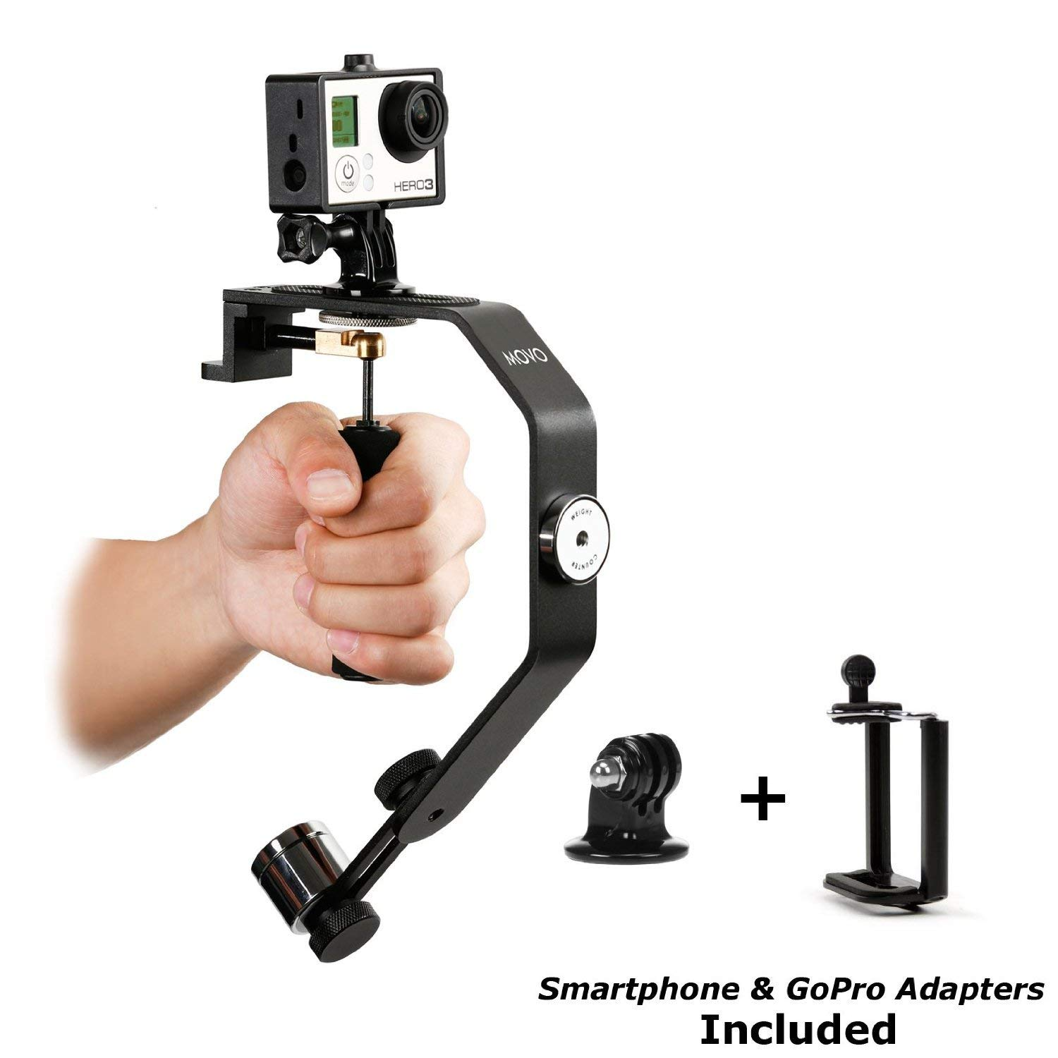 Movo Photo VS01-SP Sistema Estabilizador de Video Portátil con Contrapesos para GoPro HERO, HERO2, HERO3, HERO3+, Hero4 y Smartphones Apple iPhone 4, 4S, 5, 5S, 6, Android Samsung Galaxy S3, S4, S5, S6