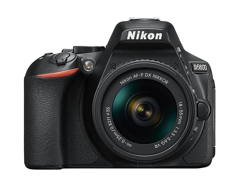 "Nikon D5600 - Kit de cámara réflex DE 24.2 MP con Objetivo AF-P DX 18-55 mm VR, Pantalla táctil de 3"", Full HD, Color Negro - Versión Europea"