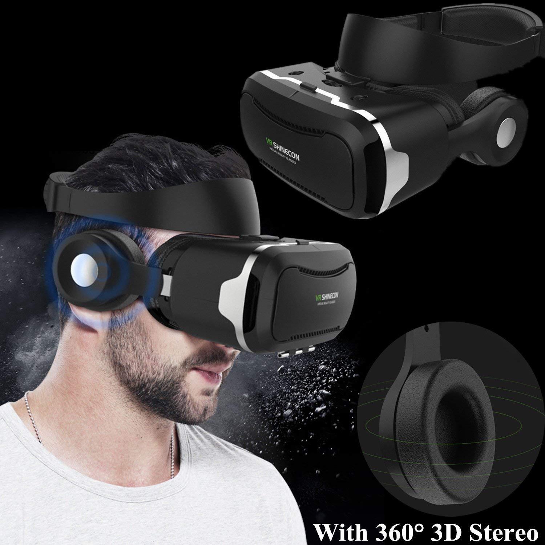 """3d Realidad Virtual móvil, bevifi VR móvil/gafas con batería y mando a distancia integrado Bluetooth 3d Auriculares para 4.5–6.0""""Android/iOS para Samsung Galaxy S7Edge S6, iPhone 766S Plus etc."""