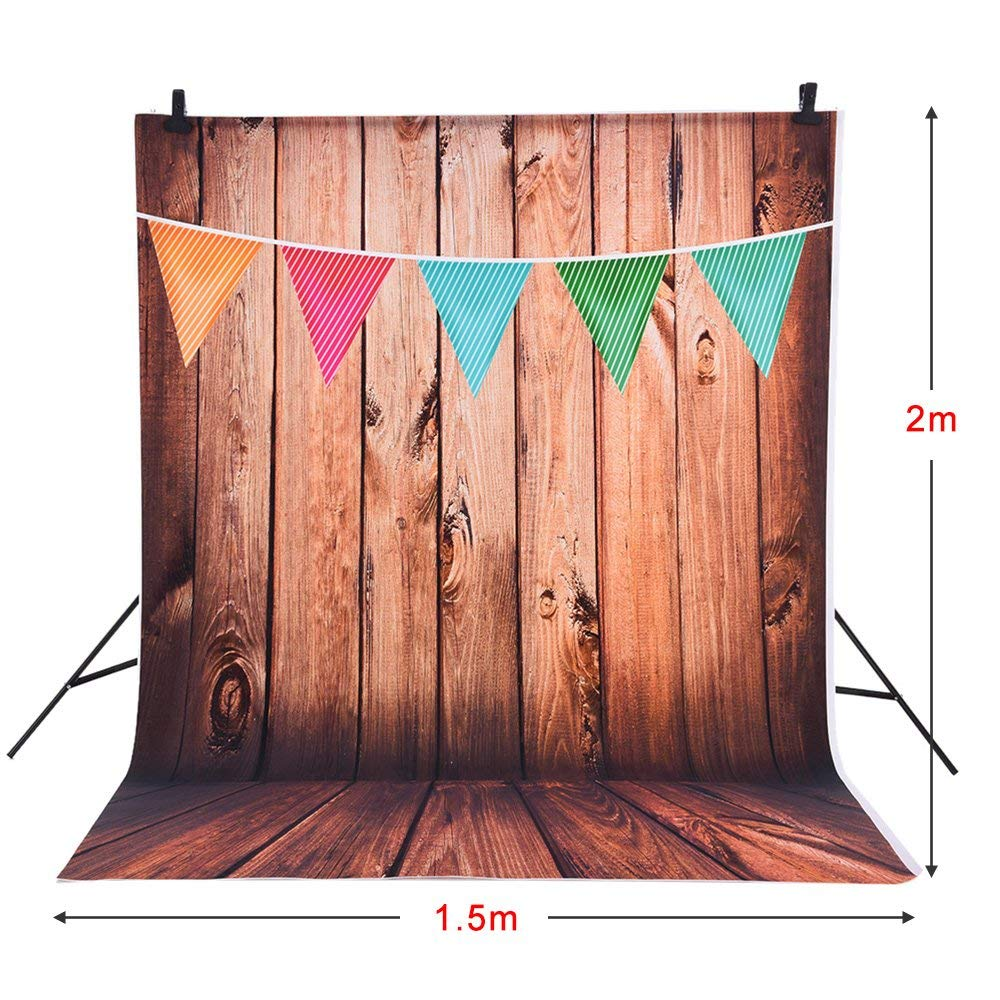 Andoer 1.5 * 2m Fondo Fotografía Telón de Fondo Patrón de Colores de la Bandera de Pared de Madera para Niños Bebé Estudio de Foto