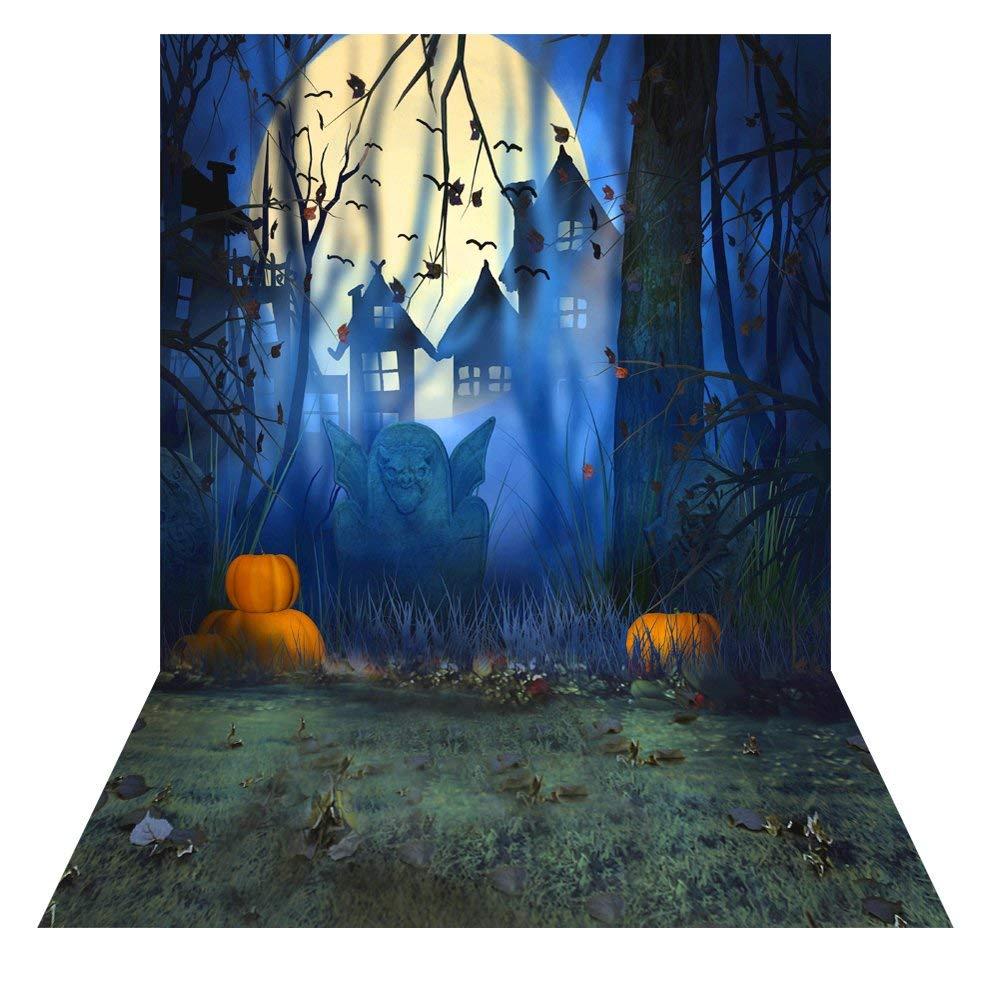 Andoer Andoer 1.5 * 2m Telón de Fondo de Fotografía Impresión Digital Halloween Calabaza Cementerio Murciélago Patrón para Foto Estudio