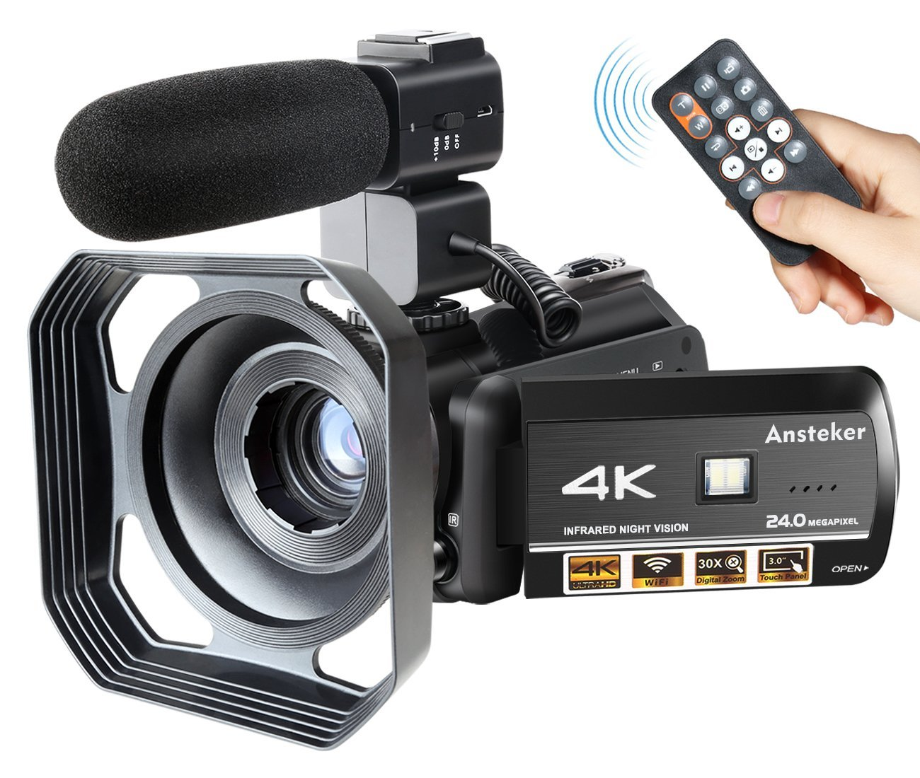 Ansteker Videocámara 4 K WiFi Ultra HD Cámara Digital Video 1080P 13MP 30FPS IR Night Vision Camcorder con Micrófono y Parasol