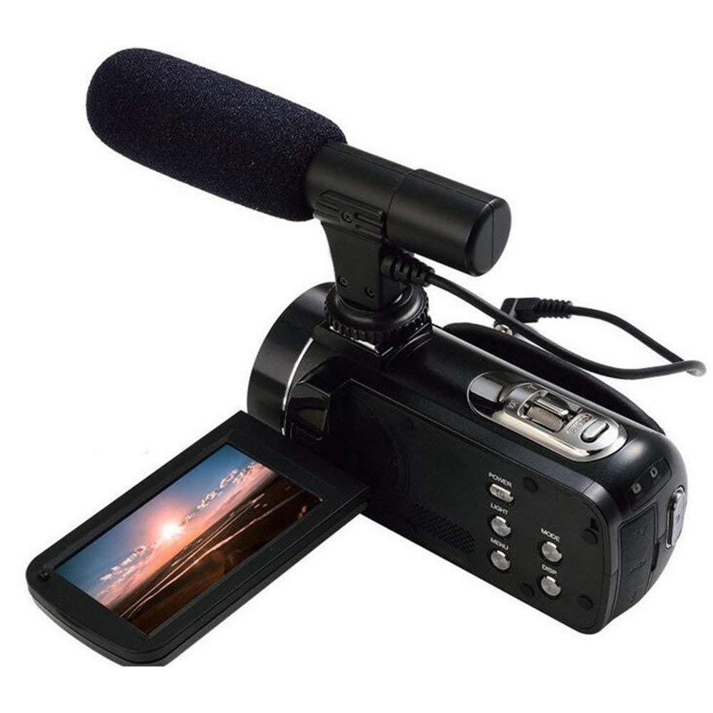 Boblov Ordro HDV-Z20 Full HD 1080P @30FPS 24MP 16X Zoom Digital Cámara Videocámara DV con External MIC- Videocámara Digital con Profesional de Cámara Montado Shotgun Boom Micrófono