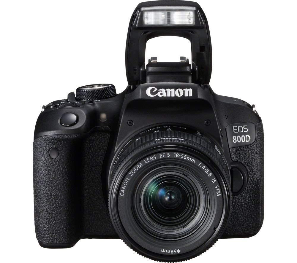 Canon EOS 800D - Cámara Digital Réflex + Objetivo EF-S 18-55 F/4-5.6 IS STM - Negro
