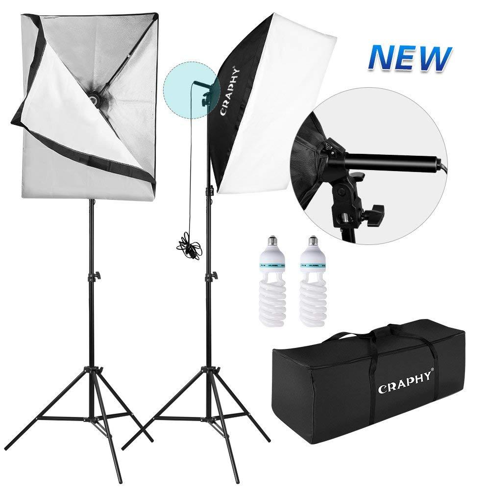 CRAPHY 700W Softbox Luz - Kit de Iluminación, Ventanas de Luz 50x 70cm y Soporte de Luz con 85W Bombilla Fluorescente