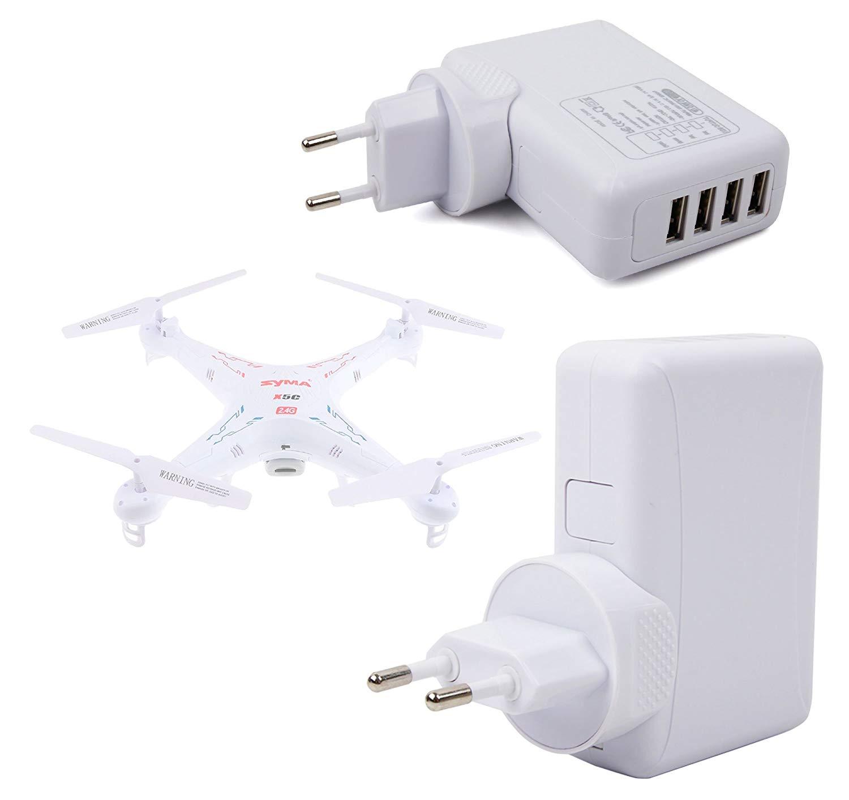 DURAGADGET Cargador De Viaje Blanco para Dron Syma X11C / Air RTF / X5C-1 2.4G 6 / X5SW 4CH 2.4G / Explorers 2 / X5SW-1 Explorers - con 4 Puertos USB Y Enchufe Europeo
