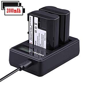 EN-EL15 Cargador de Batería para Cámara Paquete de 2 Batería de Repuesto con cargador Dual USB con pantalla LCD Compatible para Nikon 1 V1, D7100, D750, D7000, D7200, D810, D610, D800, D600, D800e, D810a