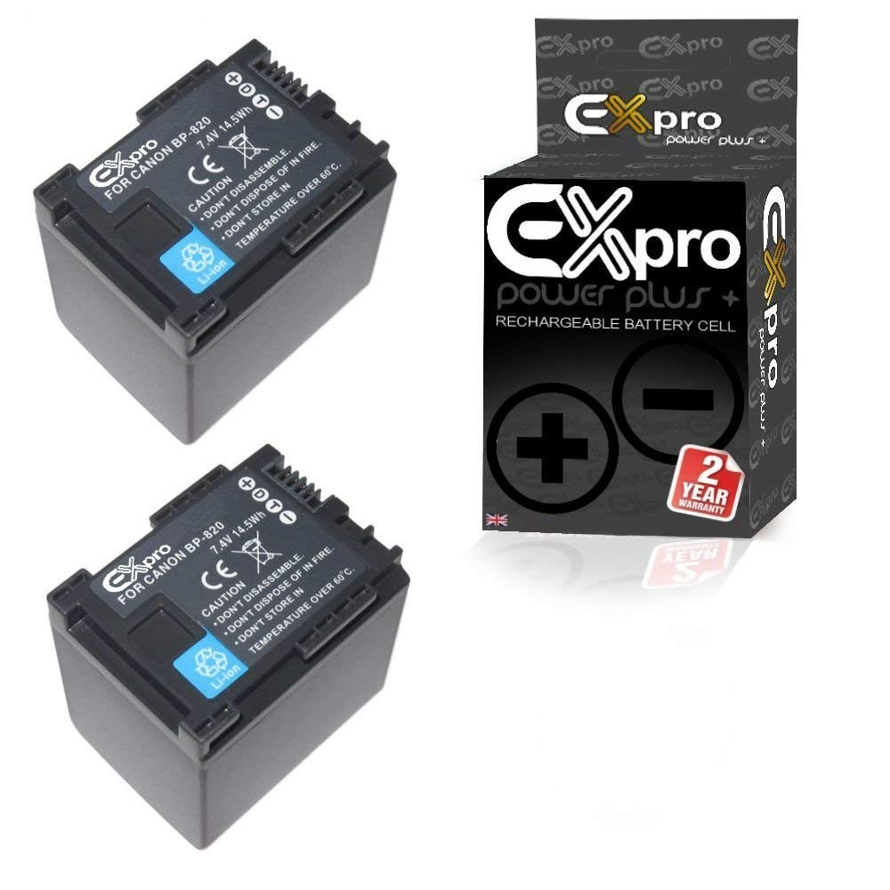 Ex-Pro - Lote de 2 baterías tipo BP-820 para cámaras de vídeo Canon G/X Series (1780 mAh, ion de litio)