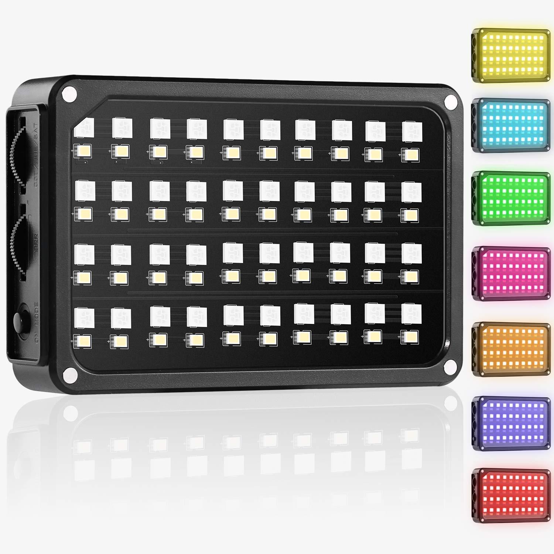 GVM TLCI / CRI 95+ Filmación de video Bolsillo en la luz de la cámara Control de color RGB Temperatura del color 2000K-5600K 80 LED Teléfono de estudio Luz de fotografía al aire libre (Incluye adaptador de corriente y batería de litio incorporada)