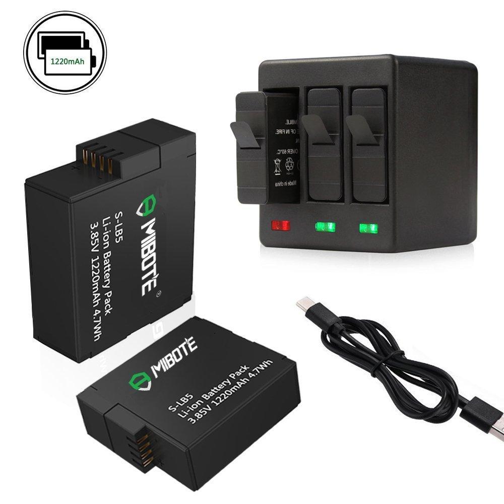 Mibote 2 pieza batería de repuesto para GoPro Hero 2018,Hero5,Hero5 Black,Hero6,Hero6 Black RAVPower Juego de cargador 100% compatible con Batería con dos ranuras para Micro USB Type C