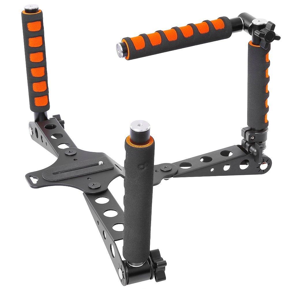Neewer 10084656, Aleación de Aluminio Plegable Rig Película Kit, Sistema de Fabricación de Película, Soporte de Hombro Estabilizador de Plataforma, naranja