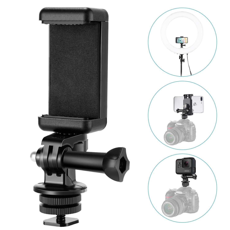 Neewer 10089743 - Kit adaptador 3 en 1 para zapata de la cámara, incluye soporte para zapata, adaptador GoPro y soporte universal para teléfono móvil o GoPro Hero 6 en DSLR