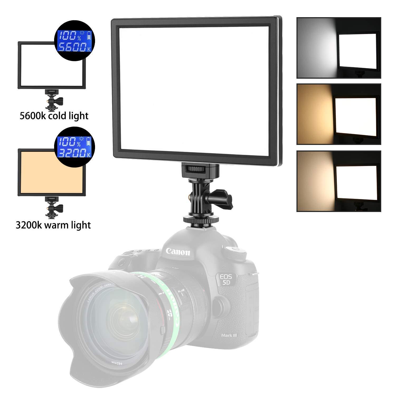 Neewer Camara/Videocámara Video Luz Panel de Luz LED para Iluminación Estudio o Exterior, 3200K a 5600K Temperatura de Color Variable y Luz Regulable, Ultra Fino, T100 (Batería NO Incluida)