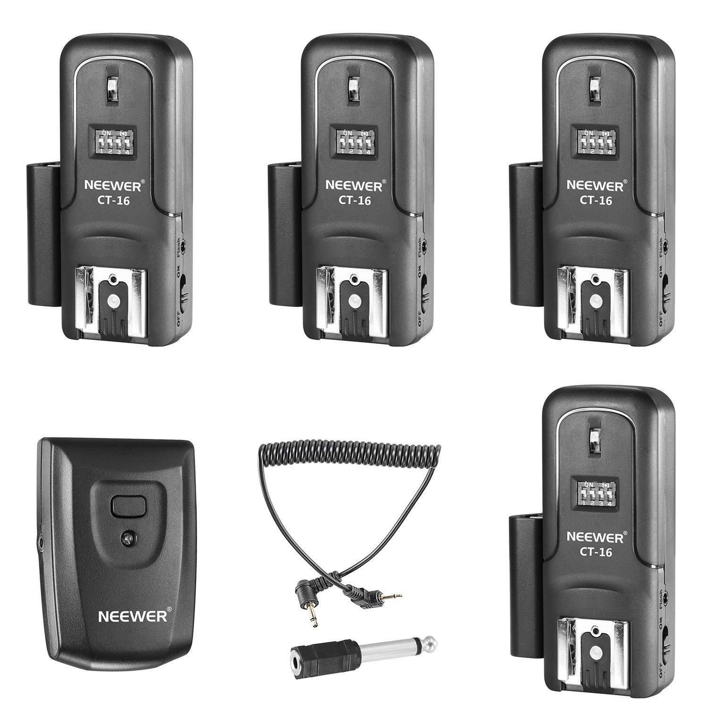 Neewer Set de Disparador de 16 Canal Inalámbrico de Flash Speedlite Radio, Incluye (1) Transmisor y (4) Receptores, compatible para Canon Nikon Pentax Olympus Panasonic Cámaras DSLR (CT-16)