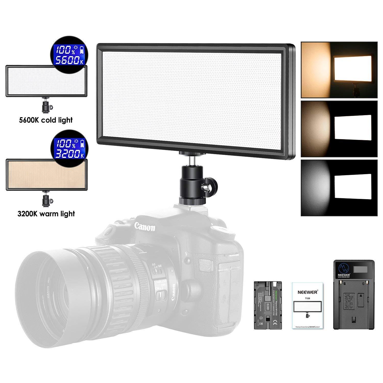 Neewer Super Fino Bi-Color Regulable Luz de Video LED con Pantalla LCD, 2600mAh Batería de Li-ion y Cargador - Panel de LED de Ultra Alta Potencia, 3200K-5500K para Cámara Foto Estudio Retrato Video