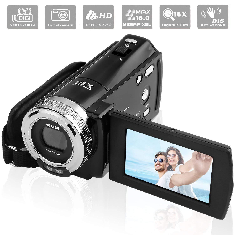 """PowerLead PLD003 Videocámaras DV C8 16MP de Alta Definición Digital Video Camcorder Dv DVR 2.7"""" TFT LCD 16x Zoom Hd Video Recorder Cámara de 1280 x 720p (Negro)"""