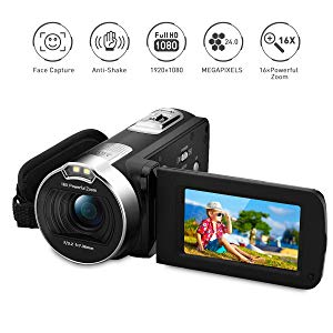 "PRIKIM Videocámara de video 1080P 24MP cámara de zoom digital de 16x con pantalla táctil de 2.7 ""TFT LCD de rotación de 270 grados, negro"