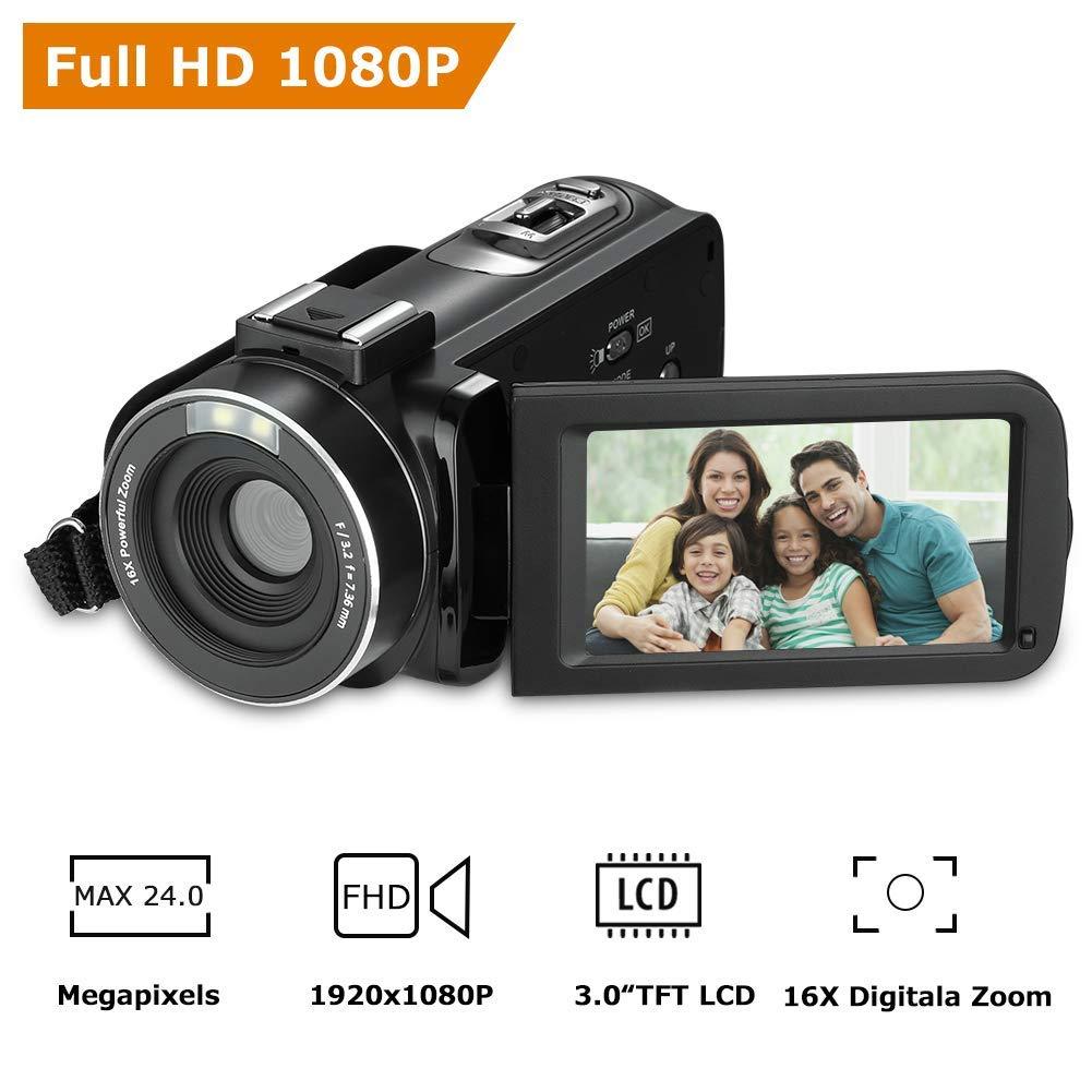 RegeMoudal Cámara de video digital, Full HD 1080p de 24.0 megapíxeles videocámara, 3 Pulgadas LCD rotativa Pantalla Camara Video 16X Zoom Digital función.