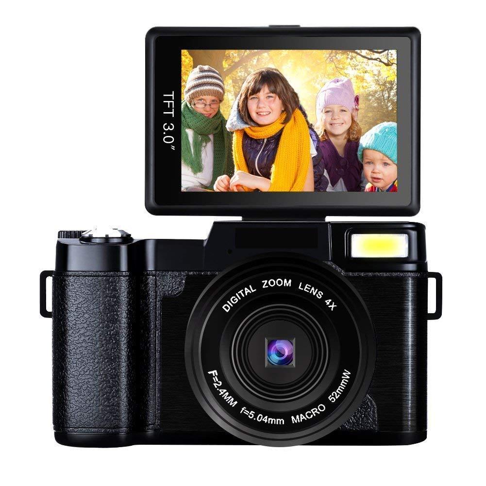 SEREE Cámara Videocámara Full HD 1080p 24.0 Megapíxeles Grabador de vídeo digital Zoom digital 4x Retractable Flash luz 3 pulgadas de pantalla con lente UV Baterías duales