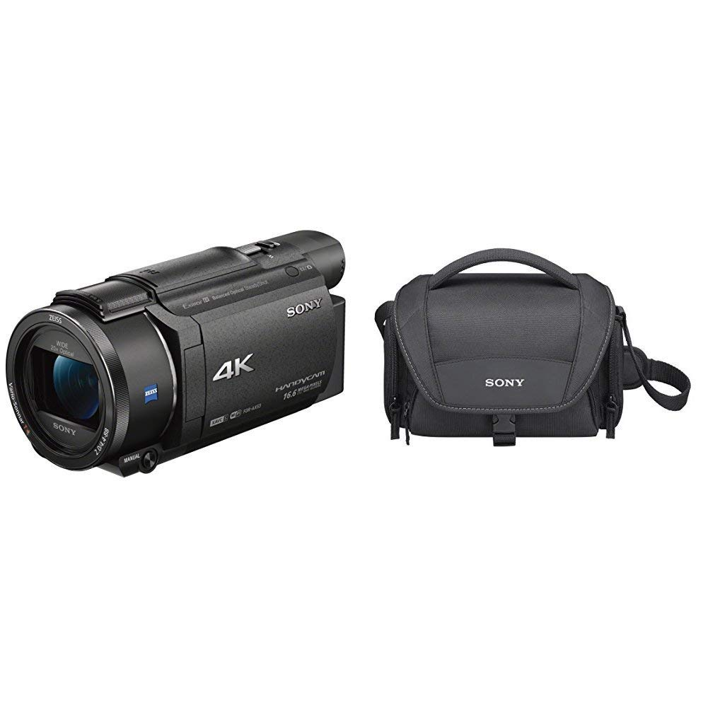"""Sony Handycam FDR-AX53 - Videocámara (pantalla de 3"""", con grabación 4K Ultra HD, lente Zeiss Vario-Sonnar de 26,8 mm, zoom óptico de 20x) + Sony LCSU21B.SYH - Bolsa de transporte para cámara/videocámara, color negro"""