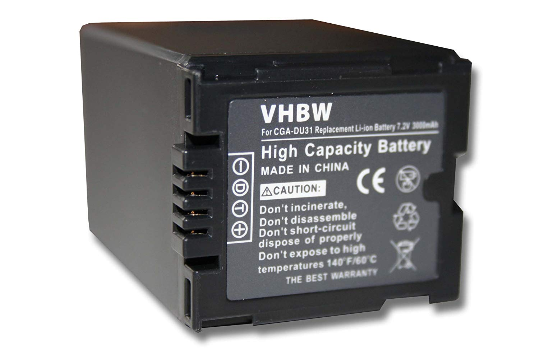 vhbw Li-Ion batería 3000mAh (7.2V) para Panasonic videocámara cámara de video sustituye CGA-DU21 / CGR-DU06 / VW-VBD070 / VW-VBD140.