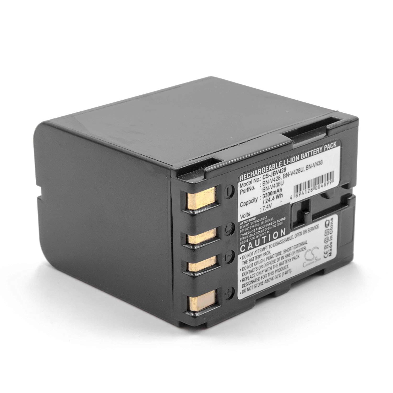 vhbw Li-Ion Batería 3300mAh (7.4V) para Cámara de Vídeo Videocámara JVC GR-DVL155EK, GR-DVL157, GR-DVL157EG, GR-DVL157EK, GR-DVL160, GR-DVL160EG