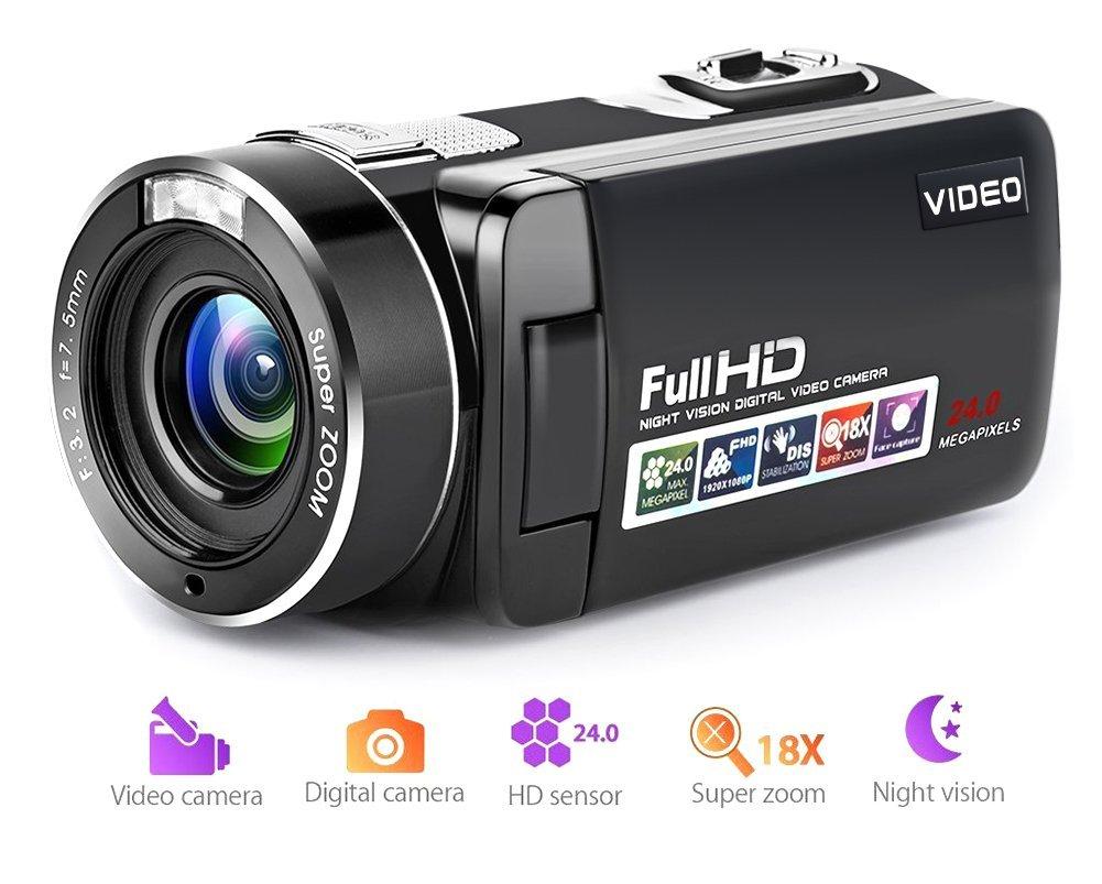 Videocámara Cámara de video de la videocámara de video de la visión nocturna Full HD 18X Digital Zoom con LCD y pantalla de rotación de 270 grados con control remoto