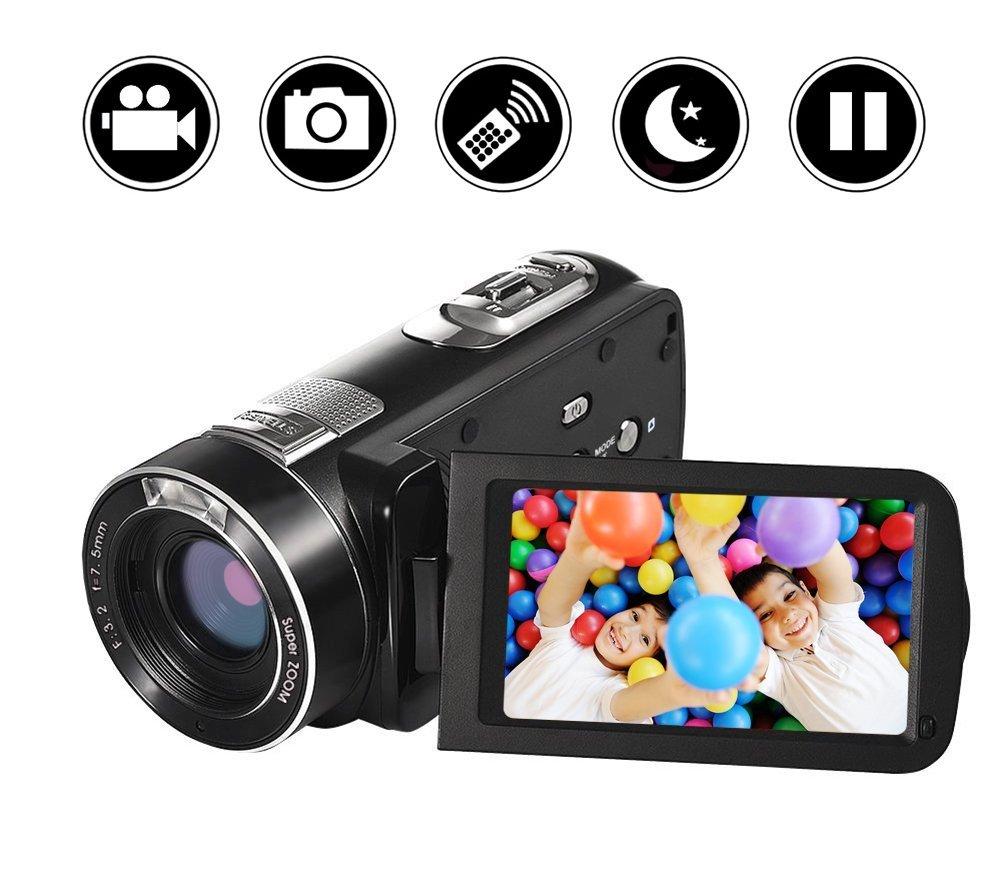 """Videocámara de videograbadora Cámara de Video Full HD 1080p 24.0MP Zoom Digital de 18x Pantalla de rotación LCD de 270""""y 3.0"""" con Control Remoto"""