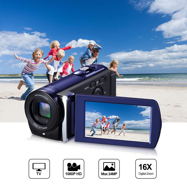 Videocámara Digital Full HD 1080P ICOCO Vídeo de Cámara Profesional Portátil con Microfono Pantalla LCD 3,0 Pulgadas Zoom Digital de 16X (16MP)