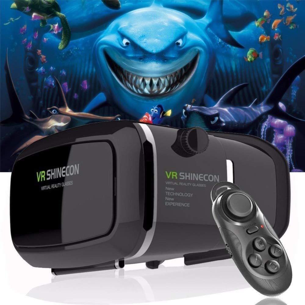 YHUOFTXRFLV VR Gafas Cartón VR shinecon Pro versión VR Realidad Virtual Gafas 3D + Smart Bluetooth Control Remoto inalámbrico Gamepad, China