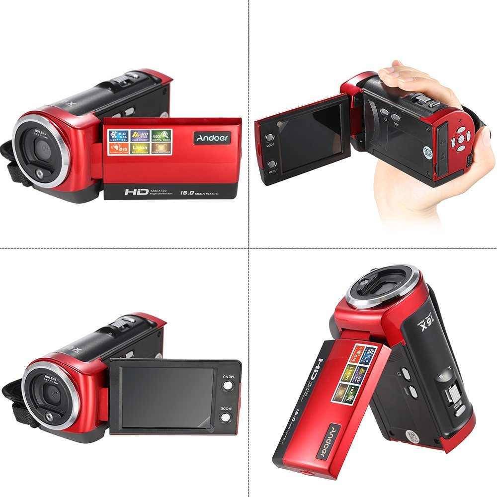 "Andoer Videocámaras Digitales Mini Portátil LCD Pantalla 2,7 "" HD 16MP 16X Zoom Digital 720P 30 FPS Anti-vibración Grabador de Vídeo Digital Cámara Videocámara DV DVR"