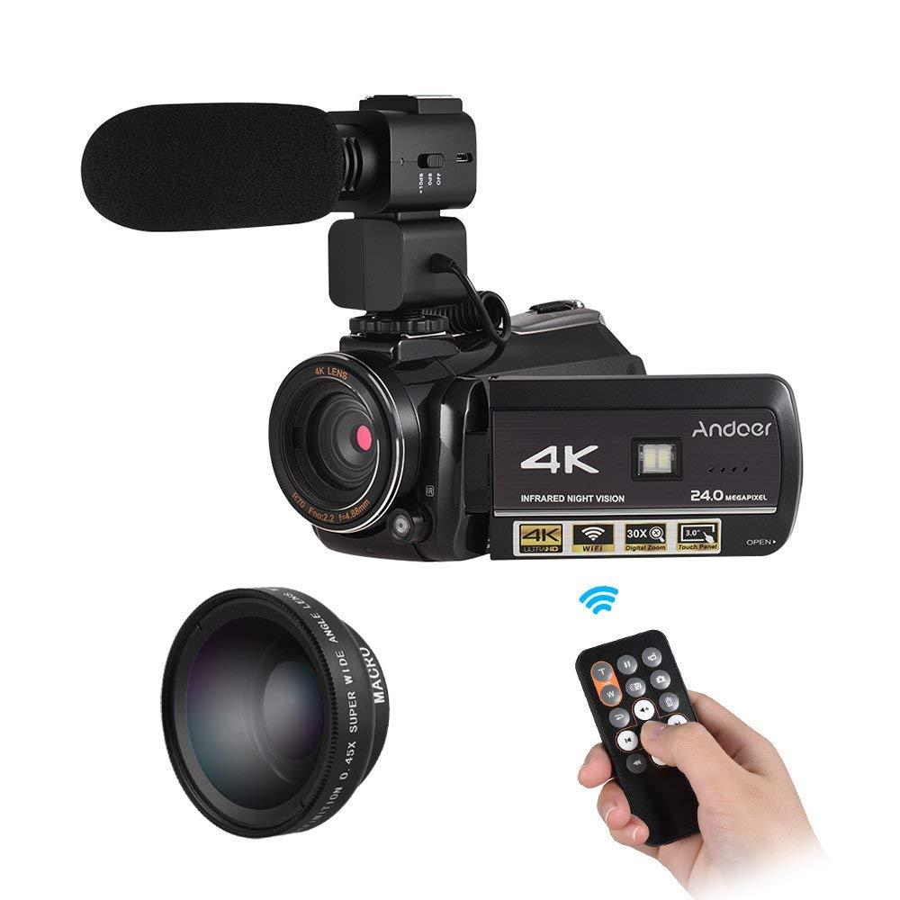 """Andoer–AC34K UHD 24MP cámara de vídeo digital videocámara grabadora DV 30x zoom WiFi conexión IR visión nocturna 3.0""""LCD pantalla táctil con extra 0.45x gran angular + micrófono externo"""