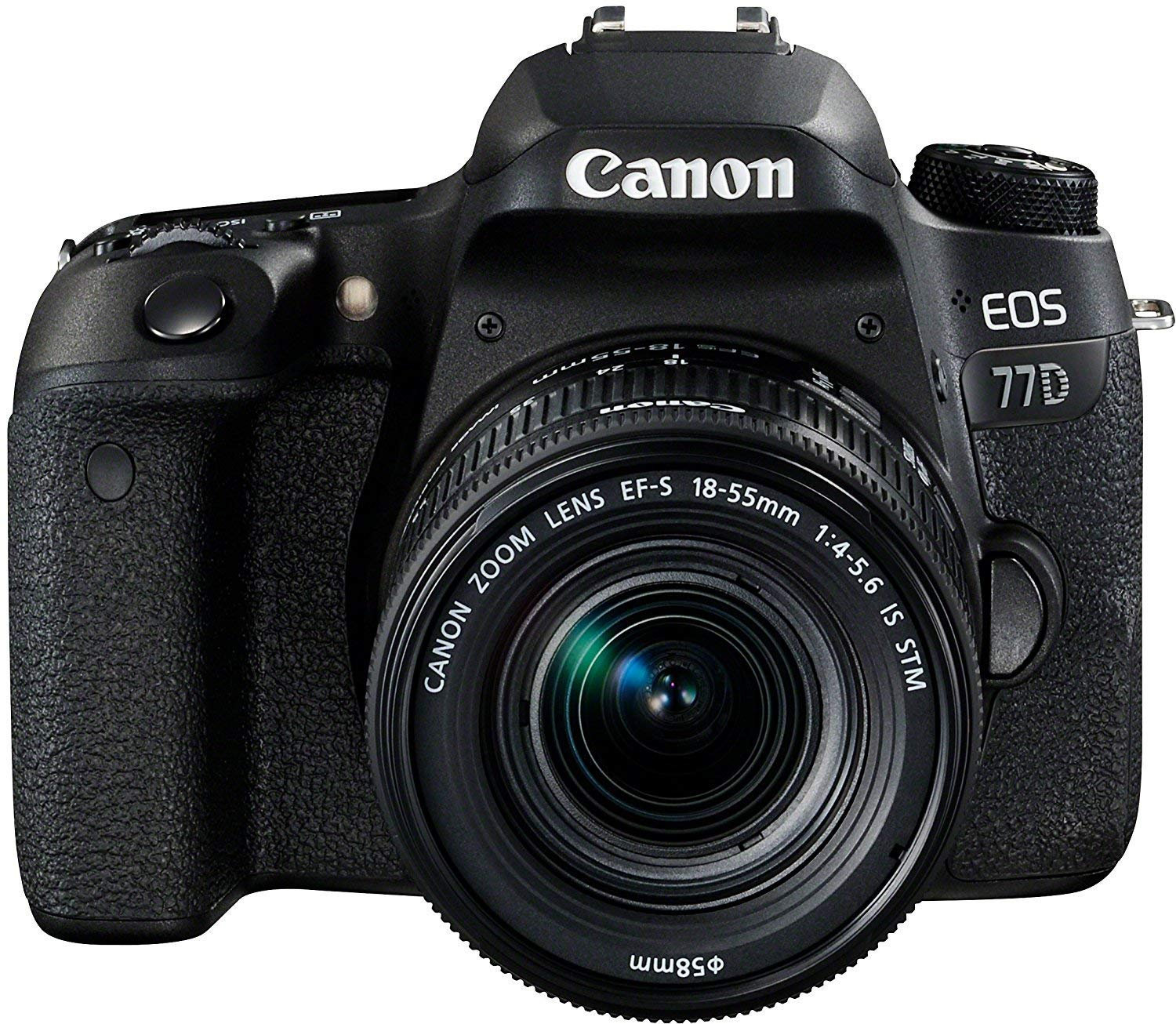Canon EOS 77D - Cámara réflex DE 24.2 MP (Full HD, WiFi, Bluetooth) + Objetivo EF-S 18-55 F/4-5,6 IS STM - Negro