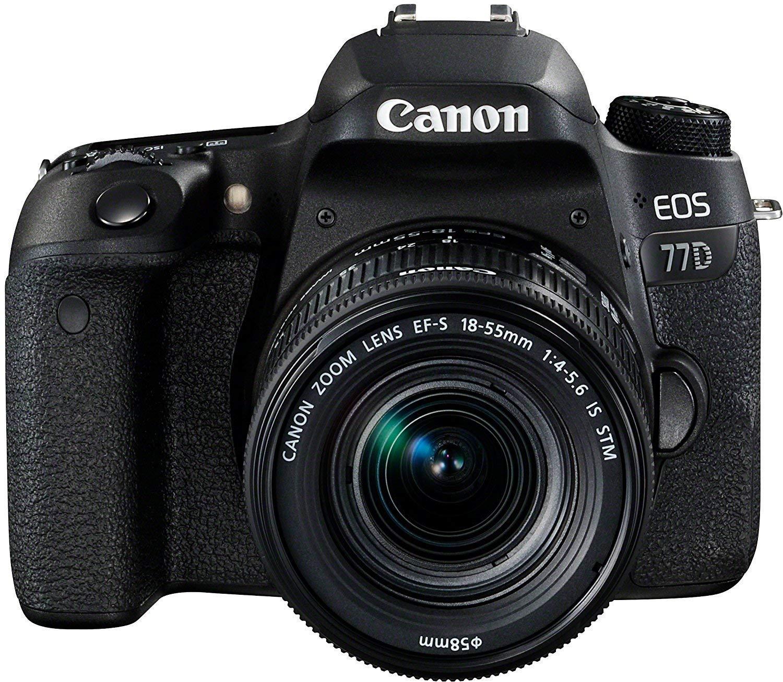 Canon EOS 77D - Cámara réflex DE 24.2 MP (Full HD, WiFi, Bluetooth) + Objetivo EF-S 18-55 F/4-5,6 IS STM - Negro