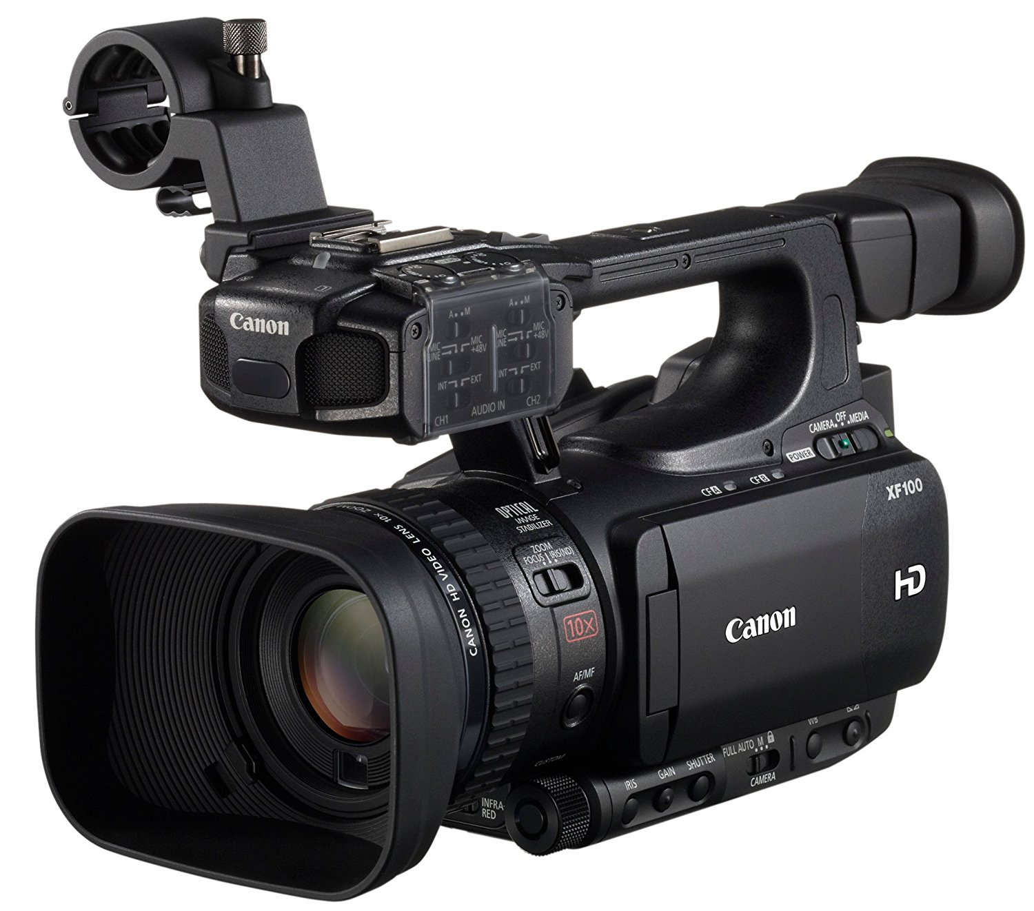 'Canon XF XF100 2.37 Mp CMOS Black Camcorders (2.37 Mp, CMOS, 25.4/3 mm (1/3), 2.07 Mp, 10 x, 6 x) [versión Canon Pass Italia]