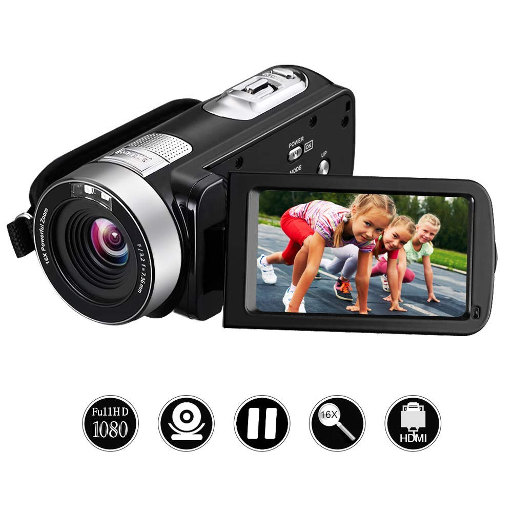 Digital Videocamara Full HD Camera de Video 1080p 24.0 MP 3 Pulgadas LCD rotativa Pantalla Camara Video 16X Zoom Digital función de Control Remoto grabadora de vídeo