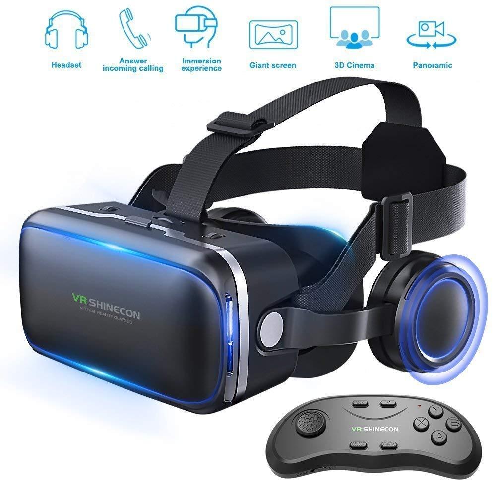 Honggu® VR Shinecon VR Headset 3d Gafas realidad virtual Auriculares para VR Juegos & ~ 3D Movies Pack con mando a distancia