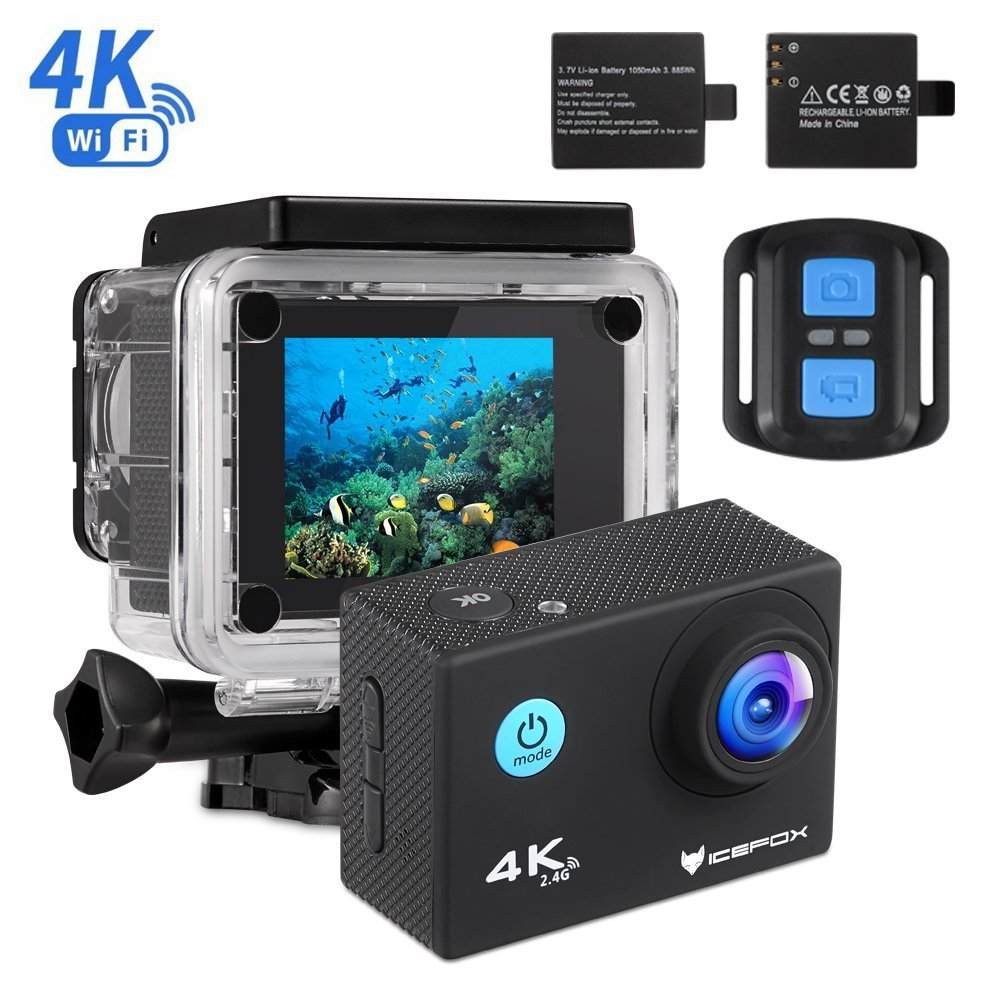 'IceFox Action CAM 4K, Ultra FHD bajo Agua cámara 30m, 2LCD 170° Ultra Amplio cámara de Casco Resistente al Agua Cámara de acción con 2batería Recargable, WiFi con Control Remoto y