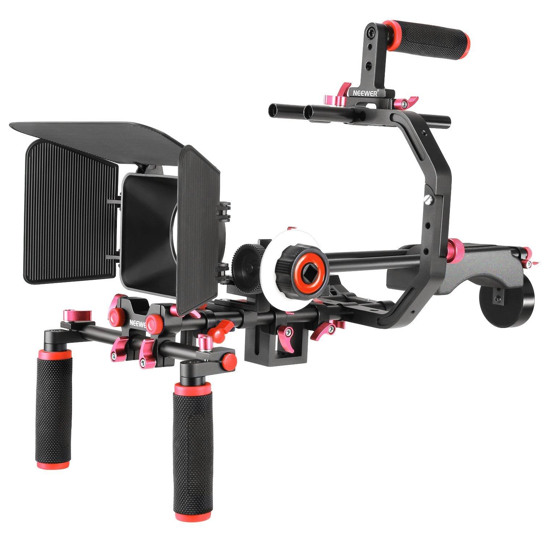 Kit para hacer películas y vídeos Neewer, para Canon, Nikon, Sony y otras cámaras réflex digitales o cámaras de vídeo, que incluye: soporte en forma de C, mango de agarre, varillas de 15mm, caja mate, enfoque de seguimiento, soporte de hombro (rojo y negro)